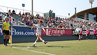 CARY, NC - SEPTEMBER 12: Angela Salem #36 of the Portland Thorns FC takes a corner kick during a game between Portland Thorns FC and North Carolina Courage at Sahlen's Stadium at WakeMed Soccer Park on September 12, 2021 in Cary, North Carolina.