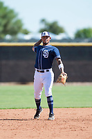 San Diego Padres shortstop Gabriel Arias (13) during an Instructional League game against the Milwaukee Brewers at Peoria Sports Complex on September 21, 2018 in Peoria, Arizona. (Zachary Lucy/Four Seam Images)
