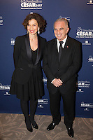 (L-R) Audrey Azoulay and Alain Terzian attend the 'Cesar 2017 Diner Des Producteurs' at the Four Seasons Hotel George V on February 20, 2017 in Paris, France. # DINER DES PRODUCTEURS DES CESAR 2017