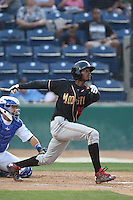 Raimel Tapia (15) of the Modesto Nuts bats during a game against the Rancho Cucamonga Quakes at LoanMart Field on May 39, 2015 in Rancho Cucamonga, California. Rancho Cucamonga defeated Modesto, 13-2. (Larry Goren/Four Seam Images)