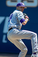University of Washington Huskies starting pitcher Lucas Knowles (29) warms up prior to the game against the Cal State Fullerton Titans at Goodwin Field on June 08, 2018 in Fullerton, California. The University of Washington Huskies defeated the Cal State Fullerton Titans 8-5. (Donn Parris/Four Seam Images)