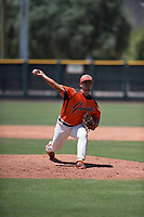 San Francisco Giants Orange relief pitcher Jesus Tona (1) delivers a pitch during an Extended Spring Training game against the Seattle Mariners at the San Francisco Giants Training Complex on May 28, 2018 in Scottsdale, Arizona. (Zachary Lucy/Four Seam Images)