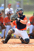 GCL Astros catcher Brett Booth (13) during a game against the GCL Pirates on July 16, 2013 at Osceola County Complex in Kissimmee, Florida.  GCL Pirates defeated the GCL Astros 6-3.  (Mike Janes/Four Seam Images)