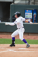 Jake Peter (3) of the Winston-Salem Dash follows through on his swing against the Myrtle Beach Pelicans at BB&T Ballpark on April 18, 2015 in Winston-Salem, North Carolina.  The Pelicans defeated the Dash 4-1 in game one of a double-header.  (Brian Westerholt/Four Seam Images)