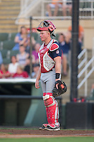 Hagerstown Suns catcher Jakson Reetz (21) on defense against the Kannapolis Intimidators at Kannapolis Intimidators Stadium on July 4, 2016 in Kannapolis, North Carolina.  The Intimidators defeated the Suns 8-2.  (Brian Westerholt/Four Seam Images)