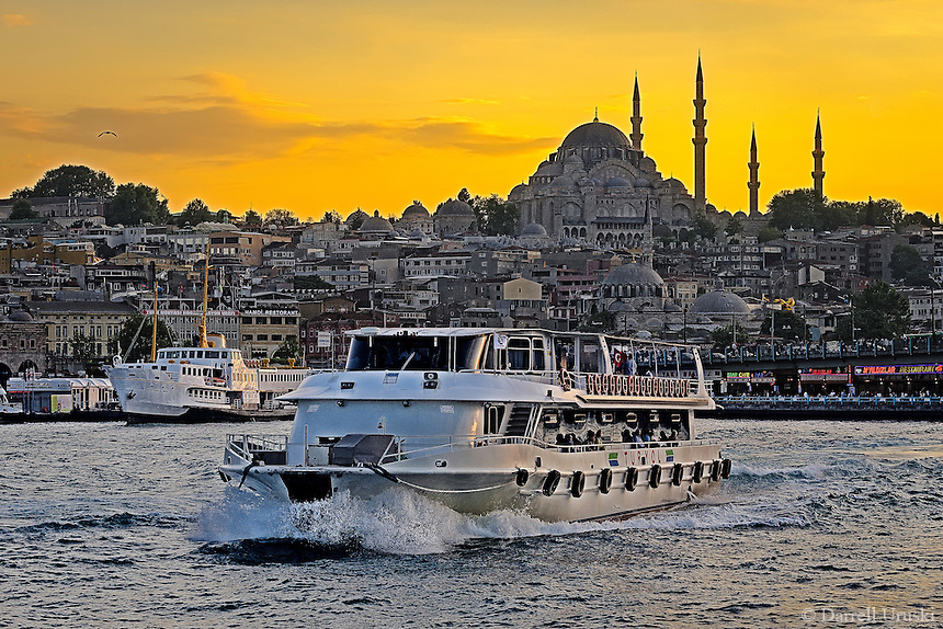 Fine Art Photograph of a Sunset on the Bosphorus Strait in Istanbul Turkey.