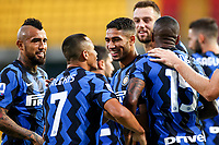Achraf Hakimi of FC Internazionale (C) celebrates with team mates after scoring the goal of  1-4 during the Serie A football match between Benevento Calcio and FC Internazionale at Ciro Vigorito Stadium in Benevento (Italy), September 30th, 2020. Photo Cesare Purini / Insidefoto