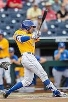 UC Santa Barbara Gauchos outfielder Andrew Calica (21) swings the bat against the Miami Hurricanes in Game 5 of the NCAA College World Series on June 20, 2016 at TD Ameritrade Park in Omaha, Nebraska. UC Santa Barbara defeated Miami  5-3. (Andrew Woolley/Four Seam Images)