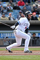 Syracuse Chiefs center fielder Bryce Harper #34 hits a double in his first at bat during the opening game of the International League season against the Rochester Red Wings at Alliance Bank Stadium on April 5, 2012 in Syracuse, New York.  (Mike Janes/Four Seam Images)