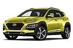 Stock pictures of low aggressive front three quarter view of 2018 Hyundai Kona Limited 5 Door SUV Low Aggressive
