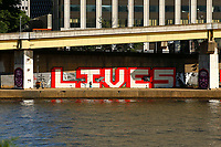 A Black Lives Matter mural along the Allegheny River is shown on Monday June 8, 2020 in Pittsburgh, Pennsylvania. (Photo by Jared Wickerham/Pittsburgh City Paper)