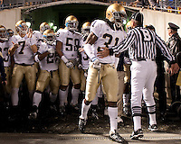 Sergio Brown (31) leads Notre Dame onto the field. The Pittsburgh Panthers defeat the Notre Dame Irish 27-22 at Heinz Field, Pittsburgh Pennsylvania on November 14, 2009..