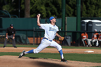 Jake Bird (14) of the UCLA Bruins pitches against the Texas Longhorns at Jackie Robinson Stadium on March 12, 2016 in Los Angeles, California. UCLA defeated Texas, 5-4. (Larry Goren/Four Seam Images)