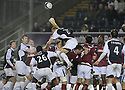 26/12/2009  Copyright  Pic : James Stewart.sct_jspa10_falkirk_v_hearts  .:: LEE BULLEN GETS ABOVE THE HEARTS DEFENCE :: .James Stewart Photography 19 Carronlea Drive, Falkirk. FK2 8DN      Vat Reg No. 607 6932 25.Telephone      : +44 (0)1324 570291 .Mobile              : +44 (0)7721 416997.E-mail  :  jim@jspa.co.uk.If you require further information then contact Jim Stewart on any of the numbers above.........