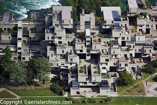 aerial photograph of Habitat 67 model community housing complex, Montreal, Quebec, Canada | photographie aérienne du complexe d'habitation communautaire modèle Habitat 67, Montréal, Québec, Canada