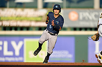 Tampa Tarpons Antonio Gomez (5) running the bases during Game Two of the Low-A Southeast Championship Series against the Bradenton Marauders on September 22, 2021 at LECOM Park in Bradenton, Florida.  (Mike Janes/Four Seam Images)
