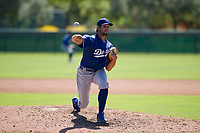 Los Angeles Dodgers pitcher Sven Schueller (9) follows through on his delivery during an Instructional League game against the Chicago White Sox on September 30, 2017 at Camelback Ranch in Glendale, Arizona. (Zachary Lucy/Four Seam Images)