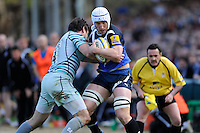 Mat Gilbert of Bath Rugby is tackled by Matt Smith of Leicester Tigers during the Aviva Premiership match between Bath Rugby and Leicester Tigers at The Recreation Ground on Saturday 20th April 2013 (Photo by Rob Munro)