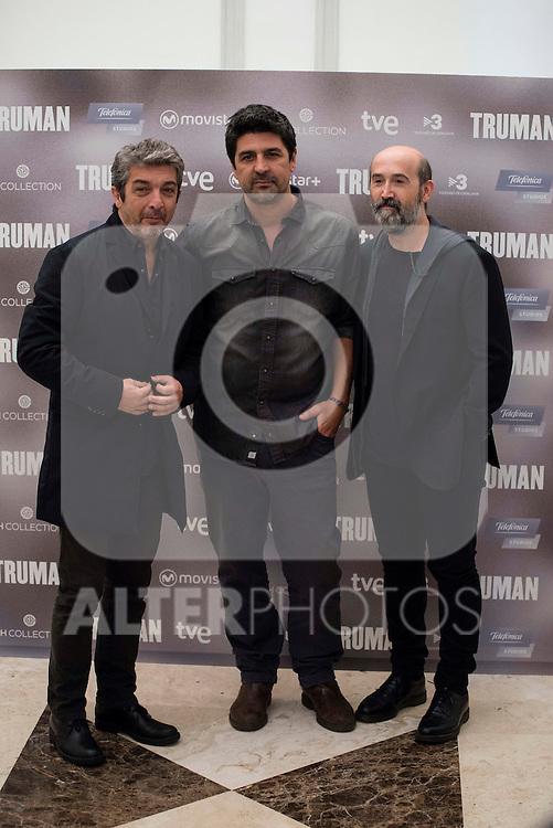 "Argentinian actor Ricardo Darin, spanish director Cesc Gay and spanish actor Javier Camara during the presentation of the film ""Truman"" at NH Tepa´s Palace in Madrid October 26, 2015. <br /> (ALTERPHOTOS/BorjaB.Hojas)"
