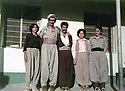 Iraq 1984     .At the headquarter of Jalal Talabani, 2nd from left, Abdullah Hassanzadeh, 3rd from left, Hassanpour, spokeman of KDPI  and 1st from right, Soheila Ghassemlou.Irak 1984.Au quartier general de Jelal Talabani, 2eme a gauche, Abdullah Hassanzadeh ,3eme a gauche, Hassanpour,porte-parole du PDKI aupres de Jelal Talabani et derniere a droite Soheila Ghassemlou