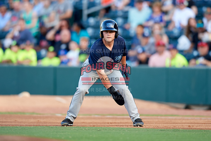 Mobile BayBears center fielder Brennon Lund (8) leads off first base during a game against the Jacksonville Jumbo Shrimp on April 14, 2018 at Baseball Grounds of Jacksonville in Jacksonville, Florida.  Mobile defeated Jacksonville 13-3.  (Mike Janes/Four Seam Images)