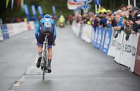 Jack Bauer (NZL) off the start podium<br /> <br /> Tour of Britain<br /> stage 3: ITT Knowsley Safari Park (16.1km)