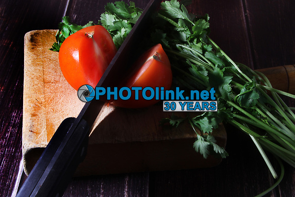Cut Tomato & Cilantro <br /> Photo By Adam Scull/PHOTOlink.net