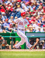 25 July 2013: Washington Nationals first baseman Adam LaRoche at bat during a game against the Pittsburgh Pirates at Nationals Park in Washington, DC. The Nationals salvaged the last game of their series, winning 9-7 ending their 6-game losing streak. Mandatory Credit: Ed Wolfstein Photo *** RAW (NEF) Image File Available ***