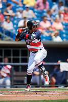 Quad Cities River Bandits second baseman Miguelangel Sierra (4) at bat during a game against the West Michigan Whitecaps on July 23, 2018 at Modern Woodmen Park in Davenport, Iowa.  Quad Cities defeated West Michigan 7-4.  (Mike Janes/Four Seam Images)