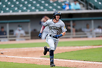 Montgomery Biscuits shortstop Miles Mastrobuoni (2) hustles down the first-base line against the Tennessee Smokies on May 9, 2021, at Smokies Stadium in Kodak, Tennessee. (Danny Parker/Four Seam Images)