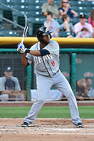 Andy Marte (8) of the Reno Aces at bat against the Salt Lake Bees in Pacific Coast League action at Smith's Ballpark on July 23, 2014 in Salt Lake City, Utah.  (Stephen Smith/Four Seam Images)