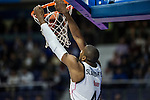 Real Madrid´s Marcus Slaughter and Galatasaray´s PLAYER during 2014-15 Euroleague Basketball match between Real Madrid and Galatasaray at Palacio de los Deportes stadium in Madrid, Spain. January 08, 2015. (ALTERPHOTOS/Luis Fernandez)