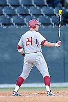 Right fielder Chris Shaw (24) of the Boston College Eagles in a game against the Wofford College Terriers on Friday, February 13, 2015, at Russell C. King Field in Spartanburg, South Carolina. Wofford won, 8-4. (Tom Priddy/Four Seam Images)