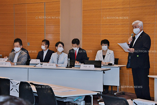 Former Japan's Defense of Minister Gen Nakatani speaks during the initial meeting of Japan Parliamentary Alliance on China (JPAC) at the Lower House Diet Members' Office Building in Tokyo, Japan on July 29, 2020.