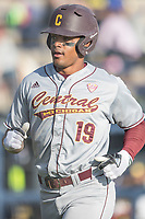 Central Michigan Chippewas outfielder Daniel Robinson (19) in action against the Michigan Wolverines on May 9, 2017 at Ray Fisher Stadium in Ann Arbor, Michigan. Michigan defeated Central Michigan 4-2. (Andrew Woolley/Four Seam Images)