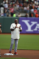 SAN FRANCISCO, CA - JULY 1:  Manager Dusty Baker #12 of the Cincinnati Reds wears a San Francisco Giants jersey during on field ceremonies honoring the Giants 2002 National League Championship team that Baker managed. This occurred before the game against the San Francisco Giants at AT&T Park on Sunday, July 1, 2012 in San Francisco, California. Photo by Brad Mangin