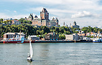 Quebec City's waterfront as viewed from a boat on the St. Lawrence River.