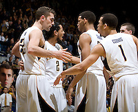 California's Harper Kamp, Jorge Gutierrez, Allen Crabbe, Justin Cobbs and David Kravish huddle together for a short talk during the game against Oregon at Haas Pavilion in Berkeley, California on February 16th, 2012.  California defeated Oregon, 86-83.