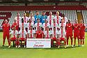 Stevenage FC 2013-14<br /> Front row (l-r): Filipe Morais, Jimmy Smith, Jon Ashton,  Graham Westley (manager), Luke Freeman, James Dunne, Matt Ball.<br /> Middle row (l-r): Neil Withington (fitness coach), Jason Goodliffe (coach), <br /> Oumare Tounkara, Luke Jones, Darius Charles , Greg Tansey, Simon Heslop, Robin Shroot, Sam Wedgbury, Dino Maamria (assistant manager), Paul Dando (physio), Mitchell Jones (analyst).<br /> Back row (l-r): Dani Lopez, Lee Hills, Steve Arnold, Chris Day, Ben Chorley, Jordan Burrow, Roarie Deacon.<br />   Stevenage FC Team Photoshoot - Lamex Stadium, Stevenage - 16th July, 2013<br />  © Kevin Coleman 2013