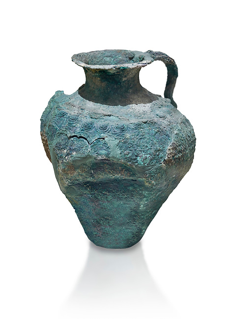 Minoan bronze jug decorated with spirals and arches, Akrotiri, Thira (Santorini) National Archaeological Museum Athens. 17th-16th cent BC.