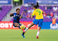 ORLANDO, FL - FEBRUARY 21: Crystal Dunn #19 of the USWNT is fouled by Andressa #7 of Brazil during a game between Brazil and USWNT at Exploria Stadium on February 21, 2021 in Orlando, Florida.
