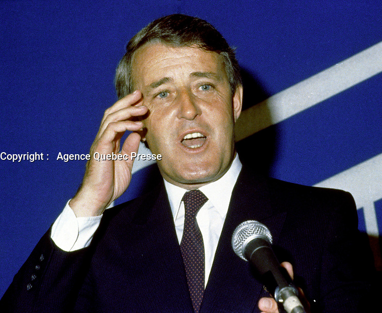 Dorval (Qc) CANADA - July 15, 1984 File Photo-<br /> <br /> Brian Mulroney  leader of  Progressive-Conservative  Party speak  at the presentation of Montreal's PC Candidates in the 1984 federal election.