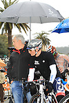 A pensive Andre Greipel (GER) Lotto Belisol waits for the race to restart in Cogoleto after heavy snow forces the race organizers to abandon part of the race over Passo del Turchino during the 104th edition of the Milan-San Remo cycle race, 17th March 2013 (Photo by Eoin Clarke 2013)