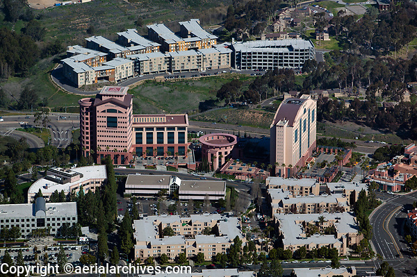 aerial photograph of New York Life, La Jolla, San Diego county, California, the Hyatt, La Jolla is at the right