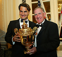 Unknwon date: Wimbledon, London, England; Champions dinner: Wimbledon winner Roger Federer (Sui) and Coach Tony Roche Australia with the winners trophy
