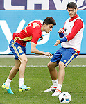 Spain's Marc Bartra (l) and Alvaro Morata during training session previous friendly match. May 31,2016.(ALTERPHOTOS/Acero)