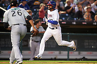 Buffalo Bisons left fielder Dalton Pompey (23) running the bases during a game against the Norfolk Tides on July 18, 2016 at Coca-Cola Field in Buffalo, New York.  Norfolk defeated Buffalo 11-8.  (Mike Janes/Four Seam Images)