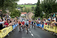Remco Evenepoel (BEL/Deceuninck-Quick Step) leading the way among the roaring crowd up the Smeysberg.<br /> <br /> Elite Men World Championships - Road Race<br /> from Antwerp to Leuven (268.3km)<br /> <br /> UCI Road World Championships - Flanders Belgium 2021<br /> <br /> ©kramon