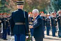 Vice President Mike Pence lays a wreath at the Tomb of the Unknown Soldier in observance of Veterans Day at Arlington National Cemetery, Arlington, Virginia, Nov. 11, 2019. (U.S. Army photo by Elizabeth Fraser / Arlington National Cemetery / released)