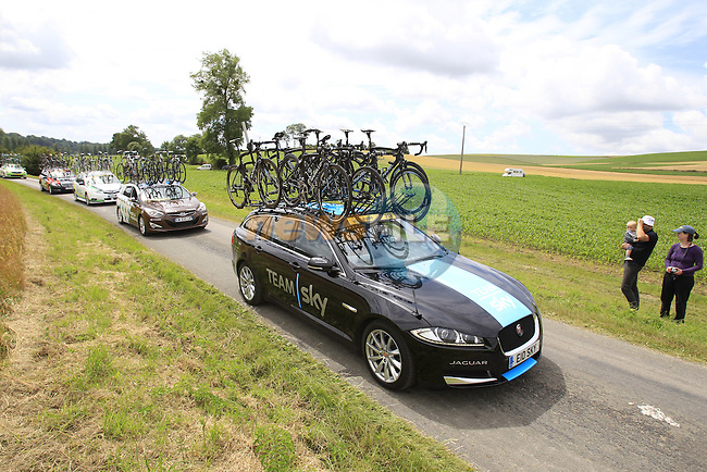 Team Sky car passes through rural landscape near Bemont during Stage 4 of the 2014 Tour de France running 163.5km from Le Touquet to Lille. 8th July 2014.<br /> Picture: Eoin Clarke www.newsfile.ie